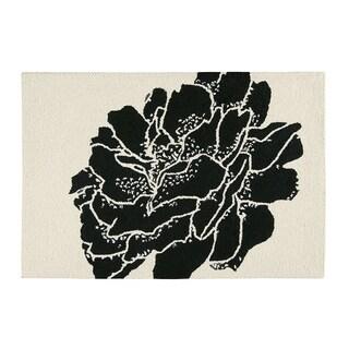 Williamsburg Dandridge Botanical Black and White Wool Hooked Rug