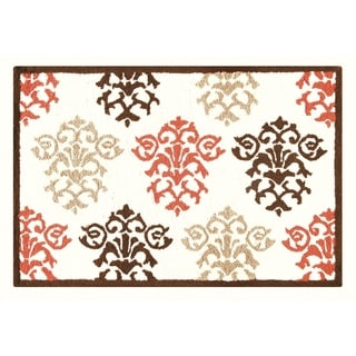 Shabby Chic Brown Hooked Rug