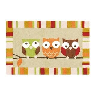3 Hoots Owl Hooked Rug