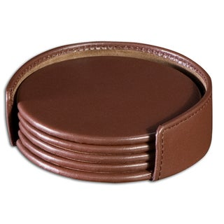 Chocolate Brown Leatherette Round Coaster Set with Holder