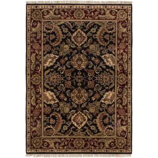 Ecarpetgallery Finest Agra Jaipur Black Wool Area Rug (4' x 7')