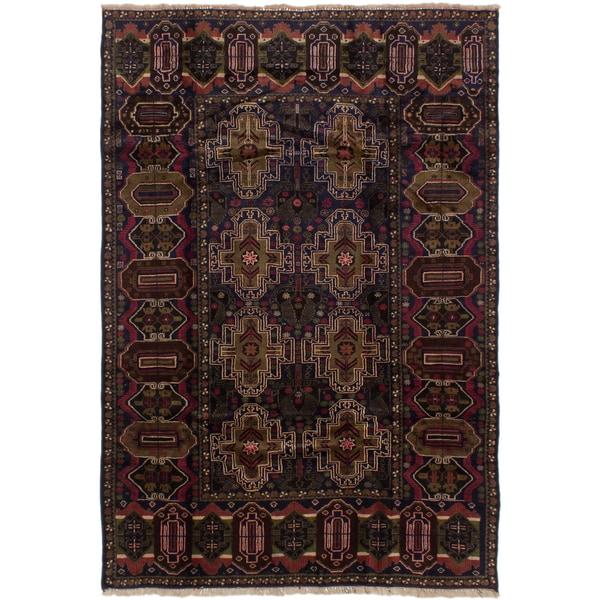 Ecarpetgallery Finest Rizbaft Blue Wool Area Rug (6' x 8')