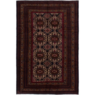 Ecarpetgallery Finest Rizbaft Beige/ Red Wool Area Rug (6' x 10')