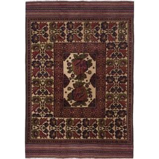 Ecarpetgallery Tajik Caucasian Beige/ Brown Wool Area Rug (6' x 9')
