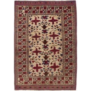 Ecarpetgallery Tajik Caucasian Beige Wool Area Rug (6' x 8')