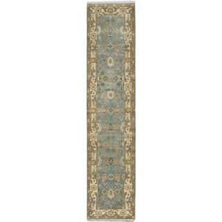 Ecarpetgallery Royal Ushak Blue Wool Area Rug (2' x 11')