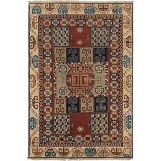 Ecarpetgallery Oriental Kazak Beige/ Orange Wool Area Rug (4' x 6')