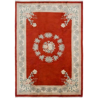 Ecarpetgallery Aubousson Red Wool Area Rug (8' x 11')