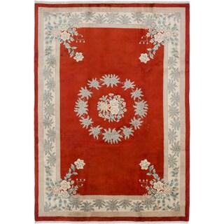 Ecarpetgallery Aubousson Red Wool Area Rug