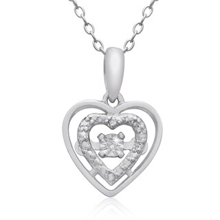 Shimmering Stars Collection Diamond Halo Heart Necklace In Sterling Silver, 18 Inches, Floating Diam - White H-I