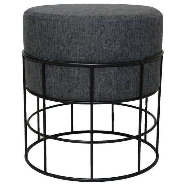 Shop Modern Designs Round Metal Fabric Ottoman Stool