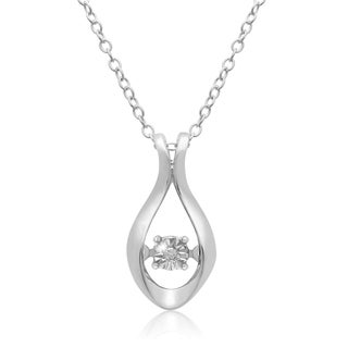 Shimmering Stars Collection Diamond Drop Necklace In Sterling Silver, 18 Inches, Floating Diamond (H
