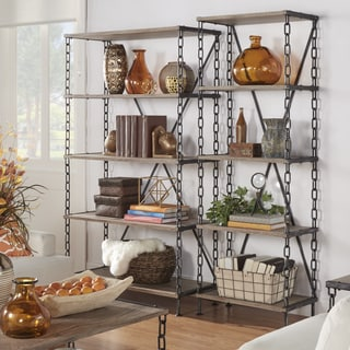 TRIBECCA HOME Blake Metal Chain Link 5-tier Bookcase Media Tower