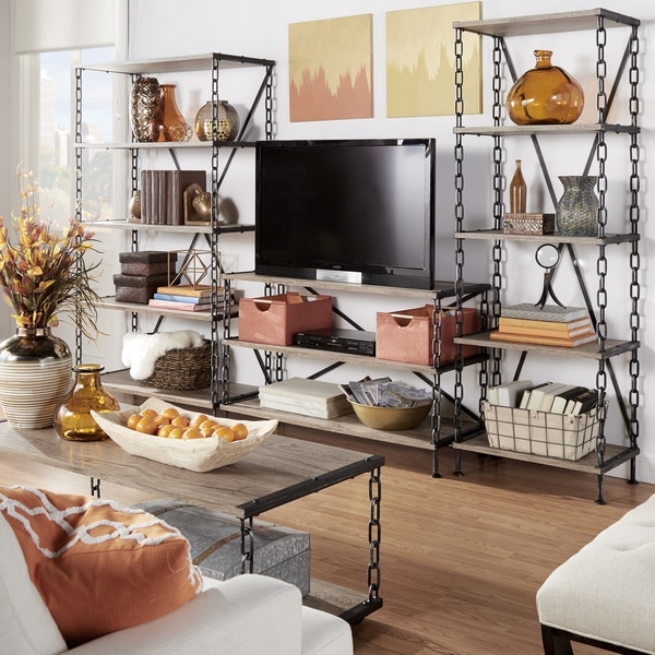 Blake metal chain link tier sofa table media stand