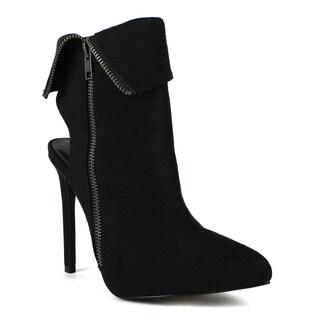 Fahrenheit Women's Keren-02 Suede Pointed-toe Zip-up Stiletto Booties