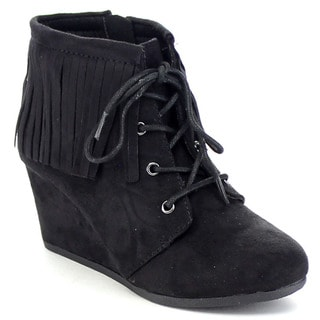 SODA WIG-2 Girl's Lace Up Fringe Detailing Boho Wedge Booties