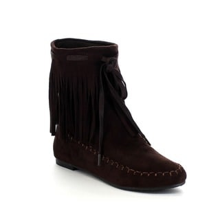 BOLARO BC5052 Women's Fashion Fringe Trim Moccasin Style Mid Calf Boots