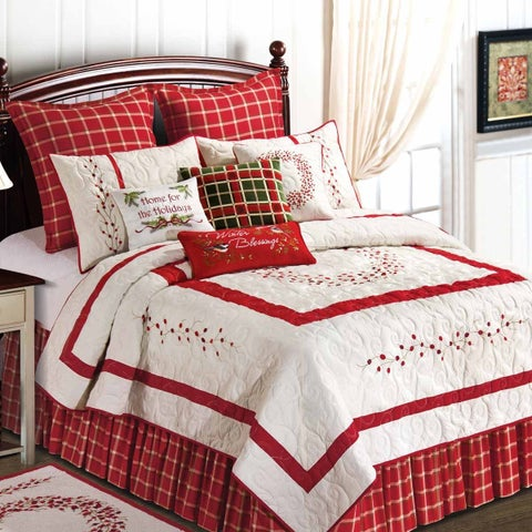 Gracewood Hollow Homer Red and White Cotton Quilt (Shams Not Included)