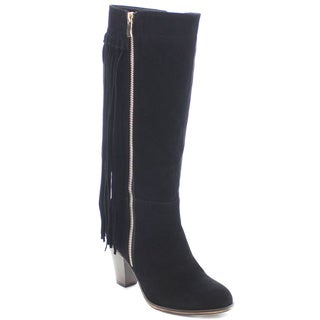 Beston FA00 Women's Boho Fringe Stacked Chunky Heel Knee High Riding Boots