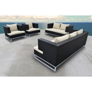 SOLIS Braccio Outdoor Deep Seated 4-piece Black Wicker Rattan Patio Sofa Set