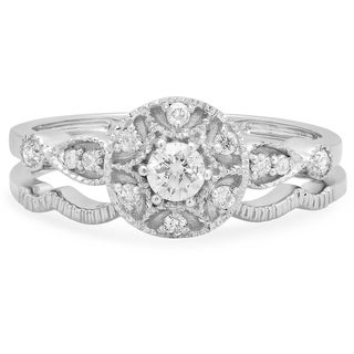 Elora 14k White Gold 1/3ct TDW Round Diamond Bridal Ring Set (J-K, I1-I2)