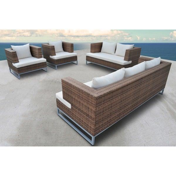 Shop SOLIS Braccio Outdoor Deep Seated 4-piece Light Brown ... on Safavieh Outdoor Living Granton 5 Pc Living Set id=91413