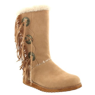 Beston Women's Fringe Faux Fur Trim Mid Calf Boots