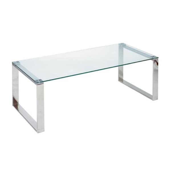 Cortesi Home Remi Contemporary Chrome Glass Coffee Table