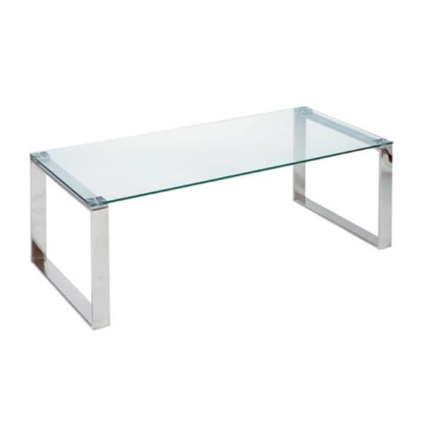 Cortesi Home Remi Contemporary Chrome Glass Coffee Table Free