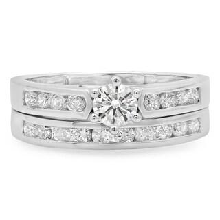 Elora 14k Gold 1ct TDW Round-cut Diamond Bridal Ring Set (J-K, I1-I2)