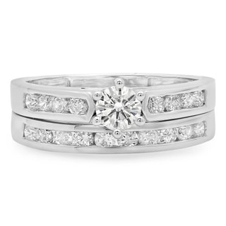 14k Gold 1ct TDW Round-cut Diamond Bridal Ring Set (J-K, I1-I2)