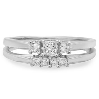 14k White Gold 1/2ct TDW Princess-cut Diamond 3-stone Bridal Ring Set (J-K, I1-I2)