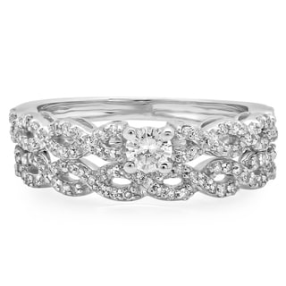 Elora 14k White Gold 1/2ct TDW Round-cut Diamond Bridal Ring Set (J-K, I1-I2)