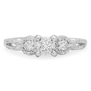 14k White Gold 7/8ct TDW Round Diamond 3-stone Swirl Engagement Ring (J-K, I1-I2)