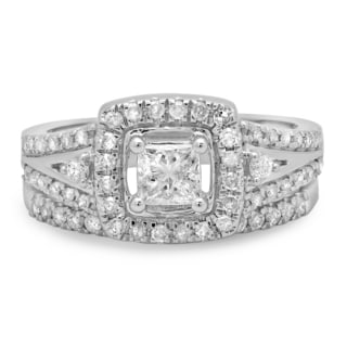 14k White Gold 1ct TDW Princess and Round Diamond Halo Split Shank Bridal Ring Set (J-K, I1-I2)