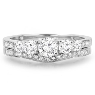 14k White Gold 1ct TDW Round-cut Diamond 5-stone Bridal Ring Set (J-K,I1-I2)