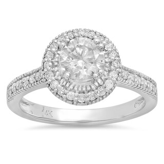 14k White Gold 1 1/6ct TDW Round Diamond Halo Style Engagement Ring (J-K, I1-I2)