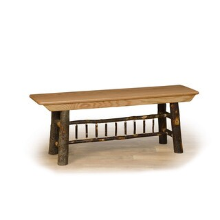 Rustic Hickory & Oak 3' Farm Bench- Amish Made USA