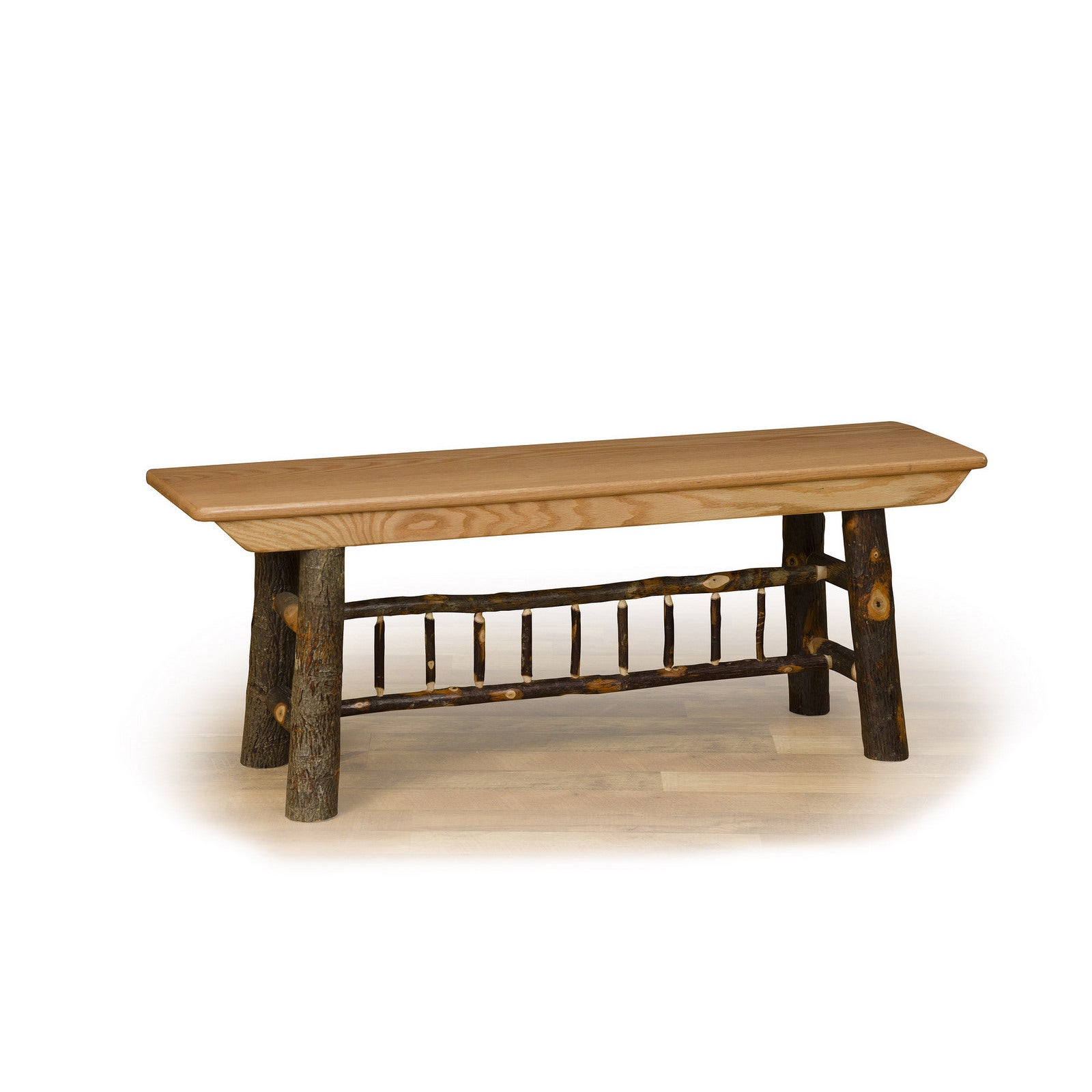 Rustic Hikcory & Oak 4' Farm Bench - Amish Made USA (Rust...