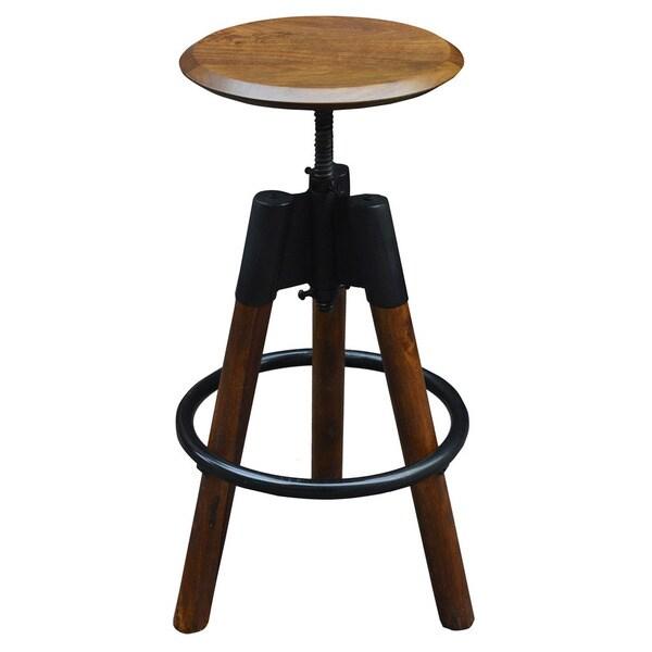 Maran Solid Wood/Iron Adjustable Stool