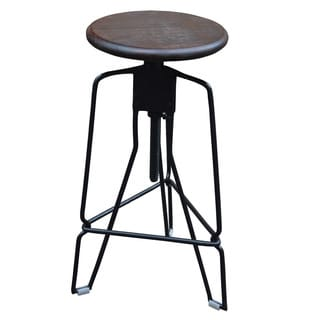 Rockwell Solid wood/Wrought Iron Adjustable Stool