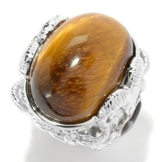 Sterling Silver Tiger's Eye and Mother of Pearl Ram Heart Ring