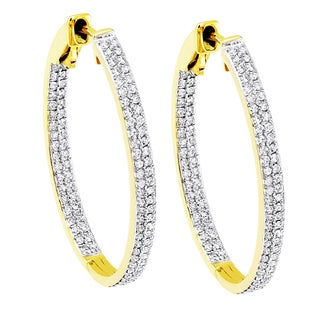 Beverly Hills Charm 14K Yellow Gold 4/5ct TDW Diamond Inside-out Hoop Earrings (H-I, SI2-I1)