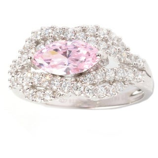 Sterling Silver 2 1/5ct Pink and White Cubic Zirconia Cluster Ring