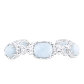 Sterling Silver Milky Aquamarine 7.5-inch Link Bracelet