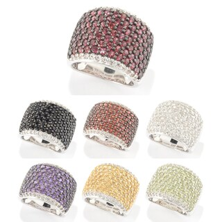 Sterling Silver Round Gemstone and White Topaz Wide Band Ring (4 options available)