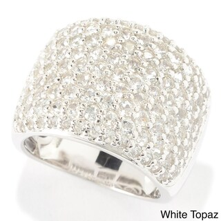Sterling Silver Round Gemstone and White Topaz Wide Band Ring (More options available)