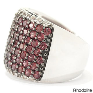 Sterling Silver Round Gemstone and White Topaz Wide Band Ring