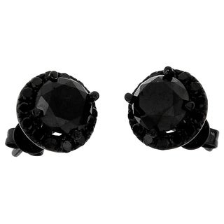 10k Black Gold 3 3/5ct TDW Round Black Diamond Stud Earrings