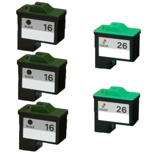 5PK 10N0016 ( #16 ) 10N0026 ( #26 ) Compatible Ink Cartridge For Lexmark X75 X1150 X1185 X1270 X2250 (Pack of 5)